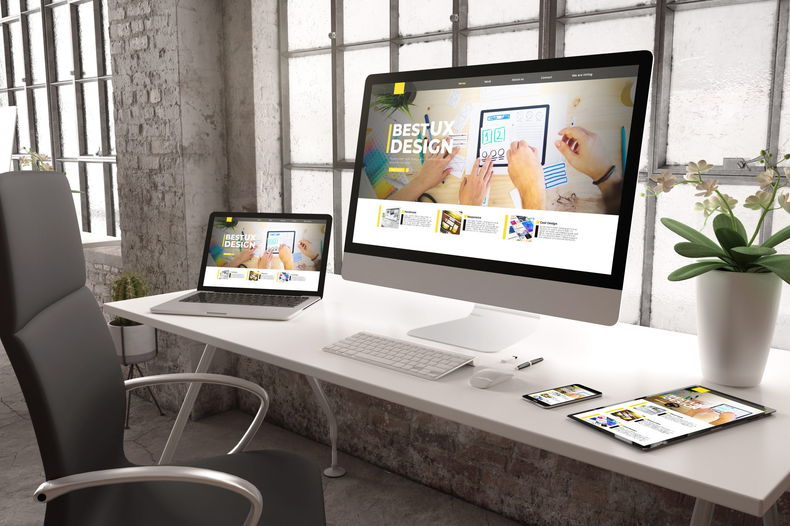 3d rendering of industrial office with devices showing ux designwebsite